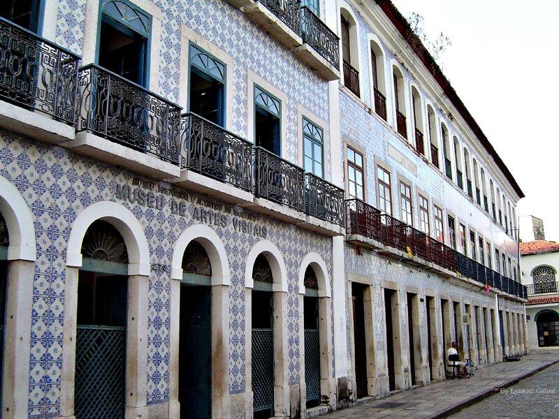 Un edificio ricoperto di azulejos nel centro storico di São Luís, in Brasile