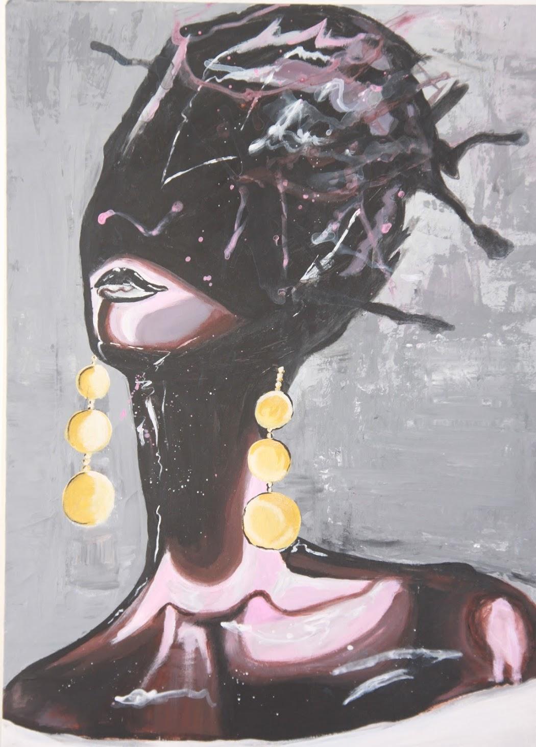 Donna Con Orecchini Color Oro