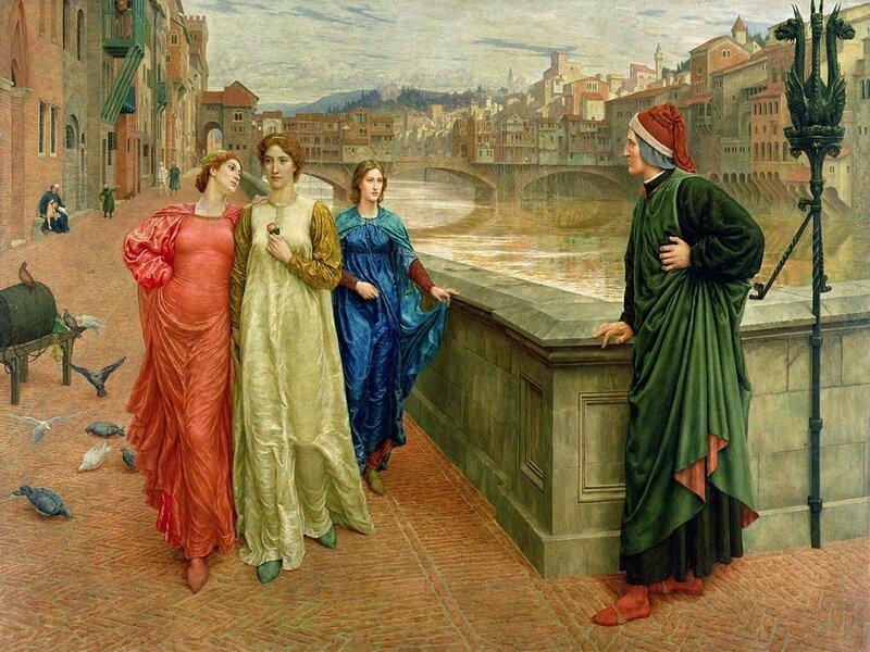 Opera ottocentesca che ritrae Dante e Beatrice