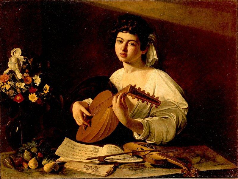Uno dei dipinti più famosi di Caravaggio, che ritrae un suonatore di liuto (1595 circa)