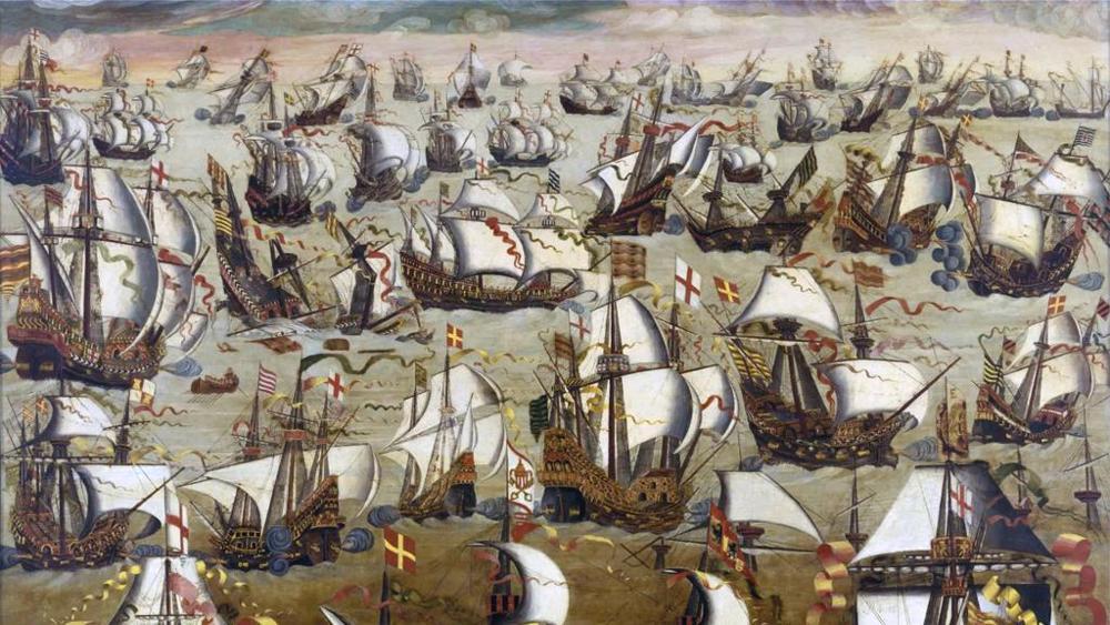 bandiera inglese - l'Invincibile Armada attorniata da navi inglesi.