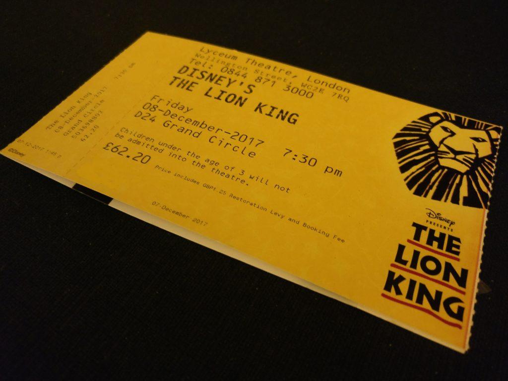 Un biglietto per il musical The Lion King