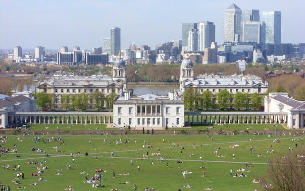 vista di Londra ripresa dal parco di Greenwich.