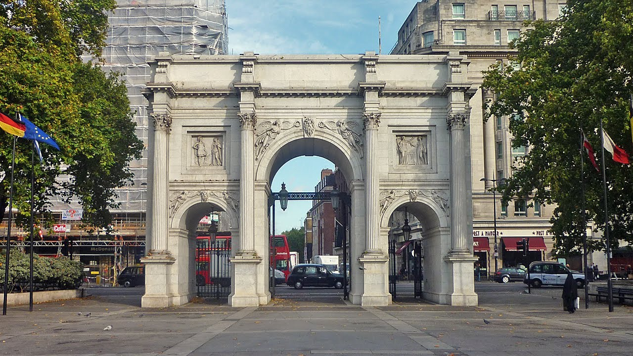Veduta frontale del Marble Arch