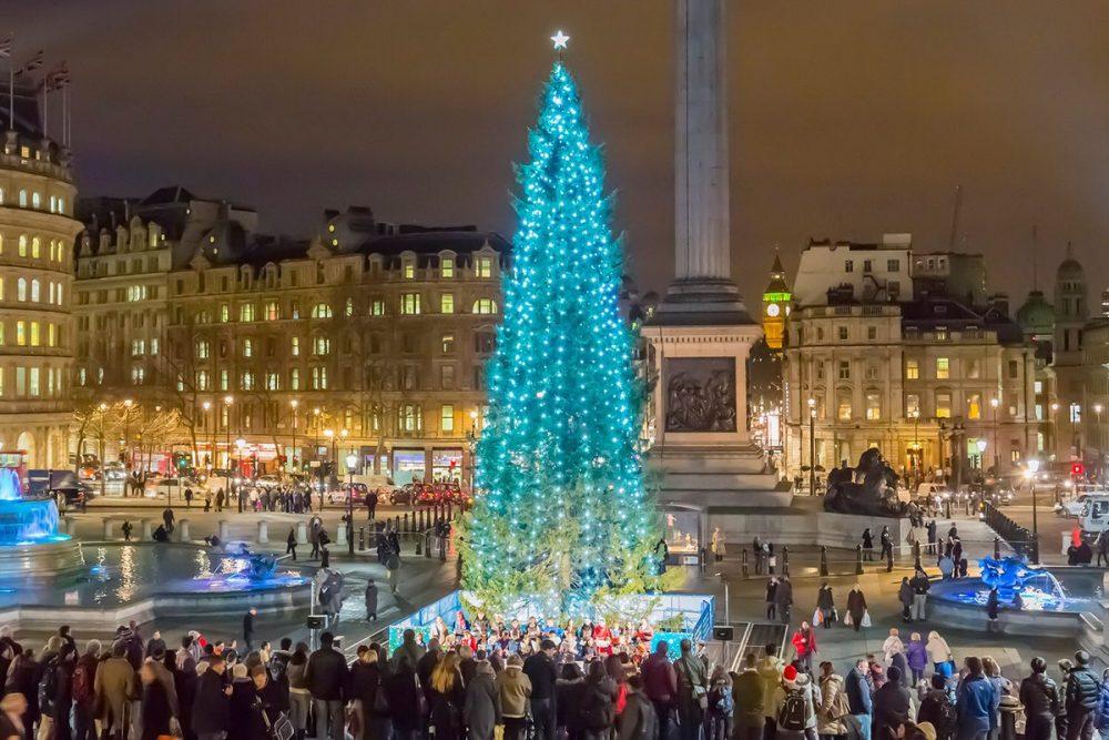 Luci Di Natale A Londra Albero A Trafalgar