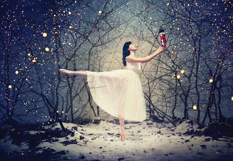 Musical- Locandina ballerina con schiaccianoci in un bosco