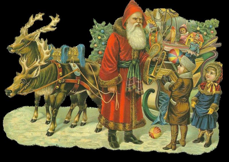 Santa Claus - Babbo Natale Con La Slitta e i bimbi