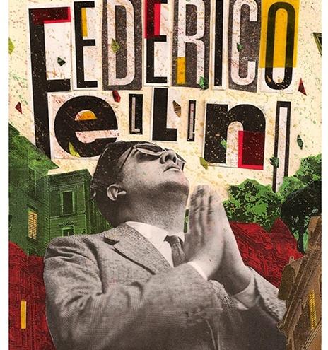 federico Fellini in una locandina con occhiali da sole