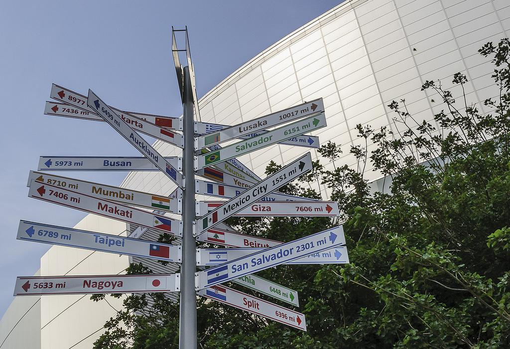 Gemellaggio - Immagine dell'albero delle frecce formato da un palo in cima al quale ci sono cartelli con i nomi delle città gemellate con Los Angeles