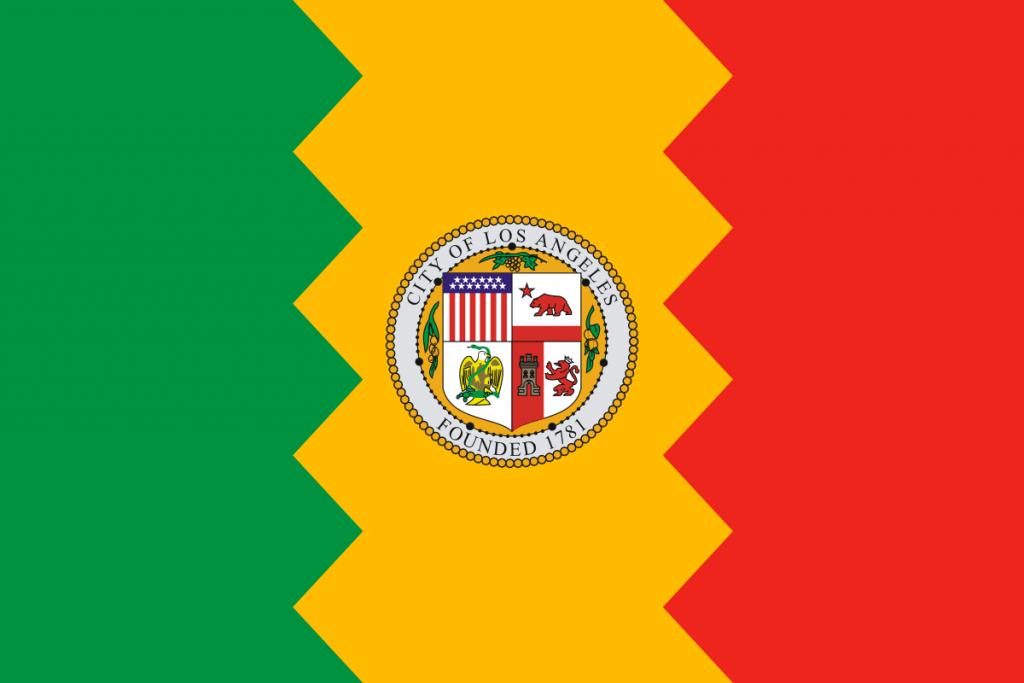 Bandiera Los Angeles in tre sezioni verticali verde, giallo e rossa con stemma al centro