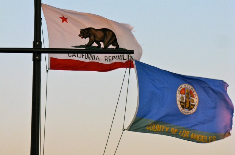 Bandiera della California e stemma di Los Angeles