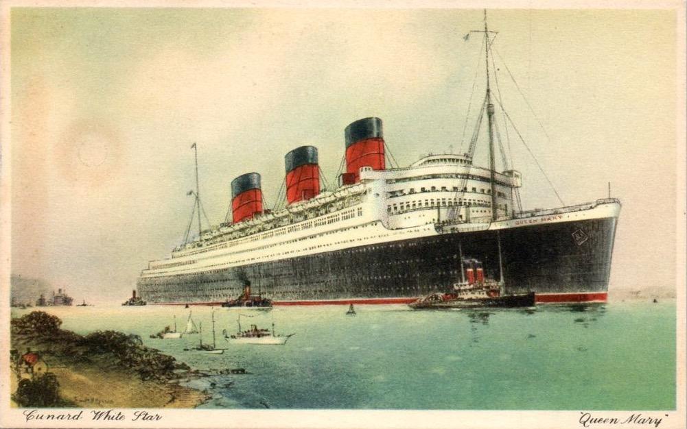 Queen Mary. Rappresentazione pittorica del transatlantico Queen Mary con ciminiere, pontili bianchi e scafo nero