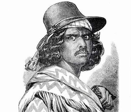 Zorro di LA. Ritratto a matita di Joaquim Murrieta con volto minaccioso indossa un cappello e un scialle sulle spalle