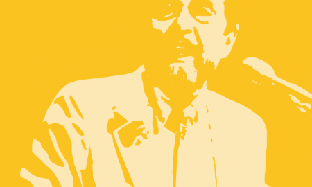 Leo Buscaglia. Immagine a modi poster di colore arancione delm volto di Leo Buscaglia