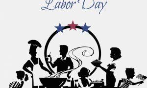Labor Day. Locandina con scritte e disegni stilizzati per la festa del Labor Day