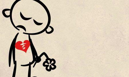 Museum of broken relationships. Vignetta raffigurante un omino stilizzato dal cuore spezzato