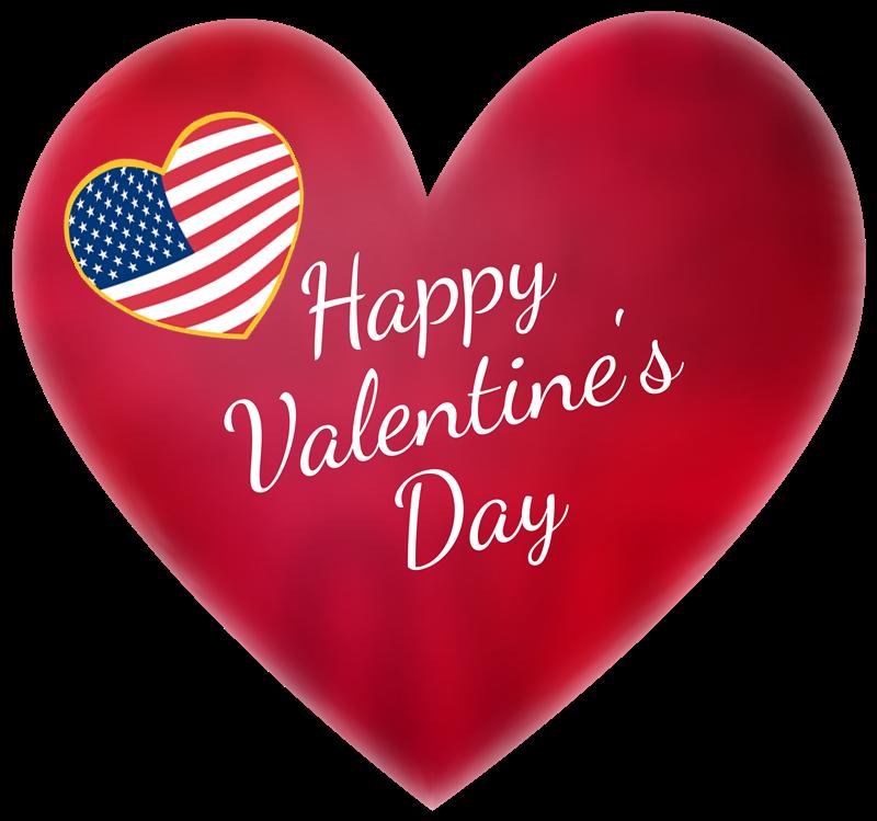San Valentino - Cuore Rosso con bandiera americana