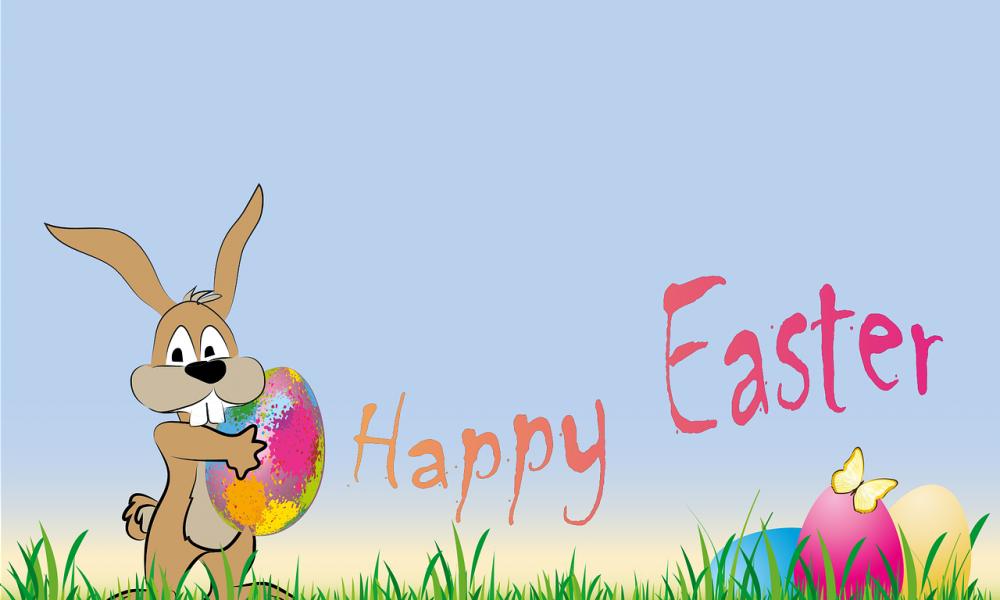 Happy Easter. Locandina d'auguri di Buona Pasqua
