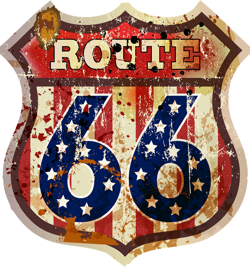 Route 66 - Vecchia Insegna arruginita