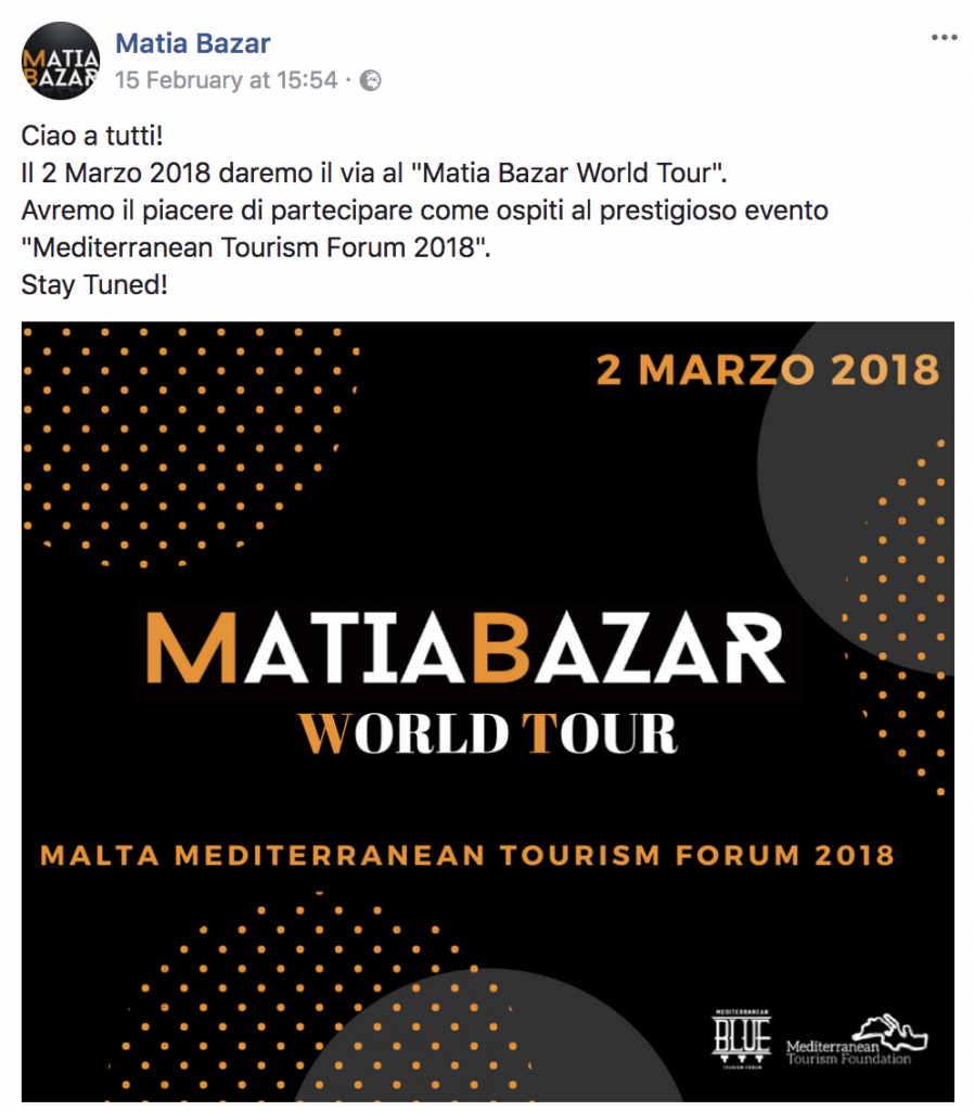 Matia Bazar a Malta - annuncio su Facebook
