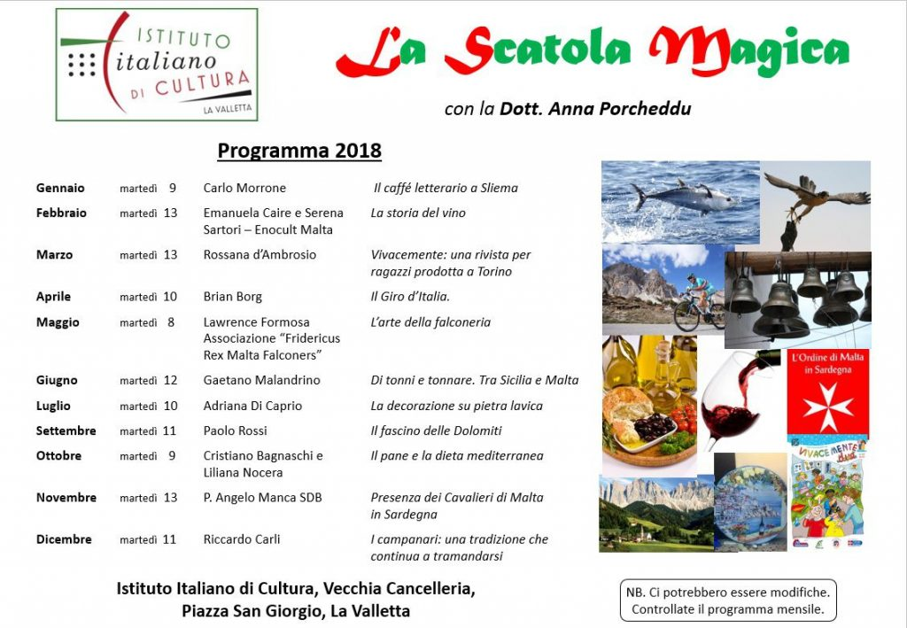 La Scatola Magica, calendario programma 2018
