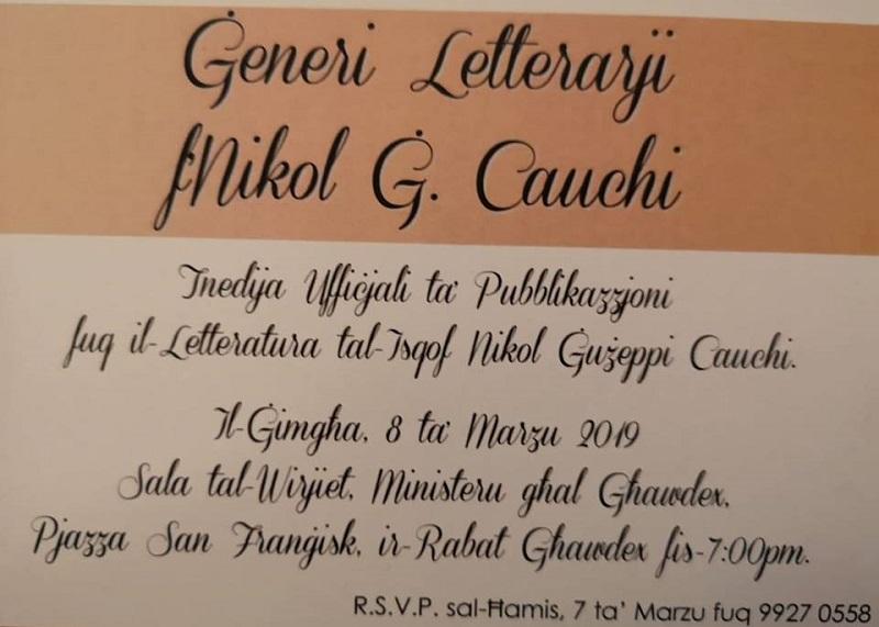 Giuseppe Cauchi - manifesto della presentazione della biografia