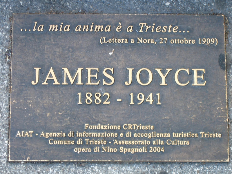 james Joyce a malta - targa presente a Trieste