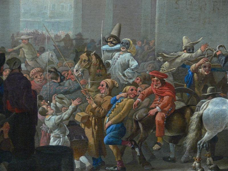 origine e storia del carnevale- dipinto antico con scene di carnevale