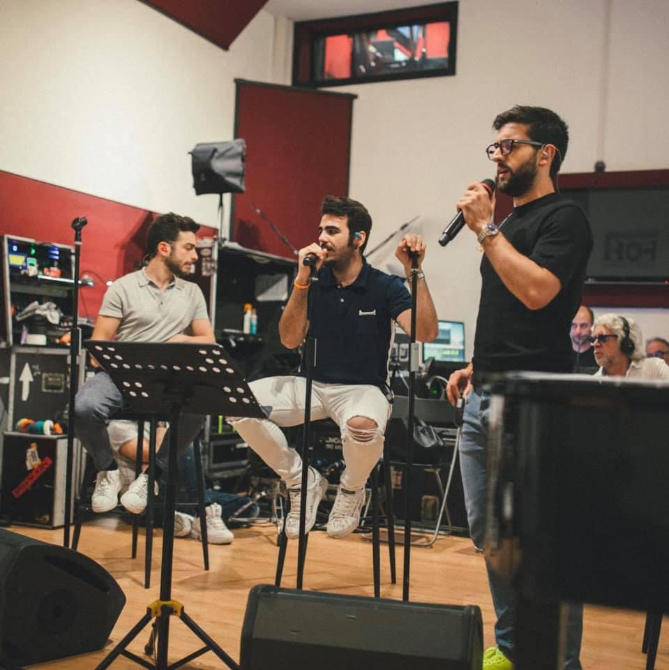 i tre tenori mentre registrano un disco