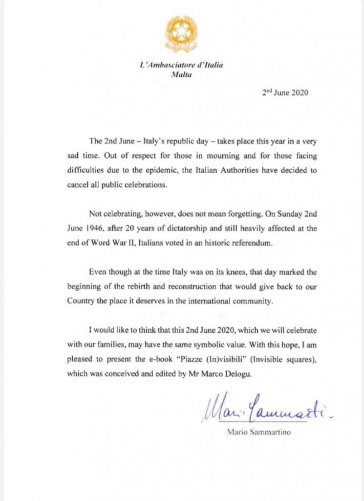 testo della lettera del 2 giugno