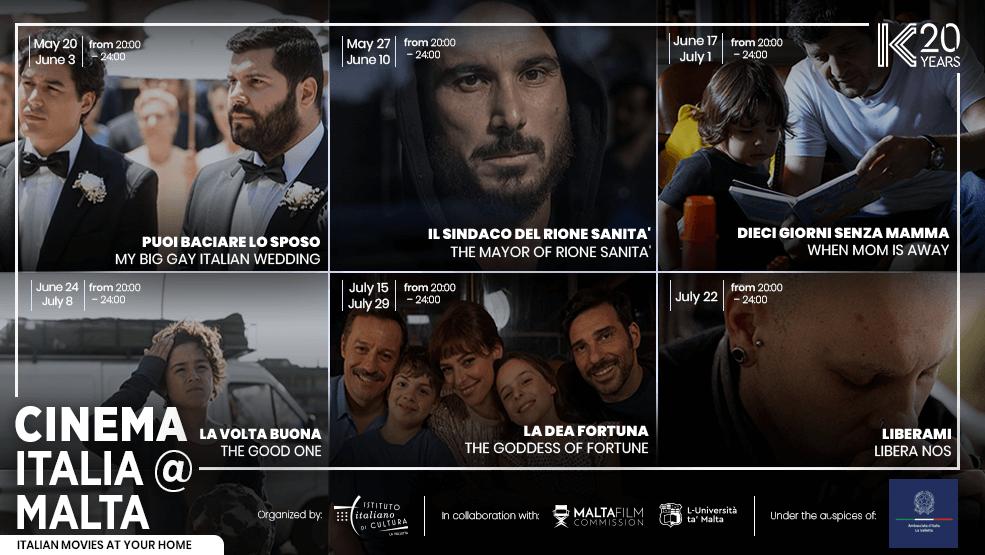 Cinema Italia <a class='bp-suggestions-mention' href='https://noi.italiani.it/italiani/malta/' rel='nofollow'></noscript>@Malta</a> 2020 - locandina con i film