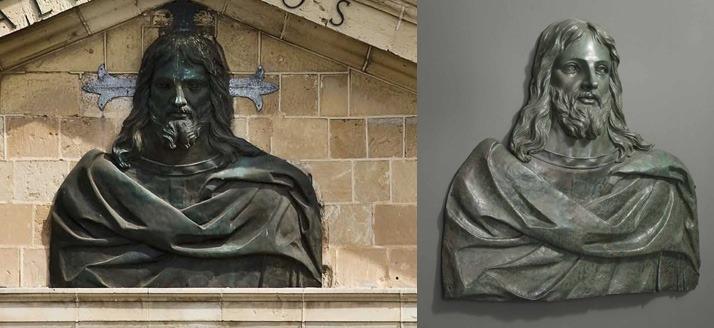 il barocco - due immagini in bronzo di gesù prima e dopo il restauro
