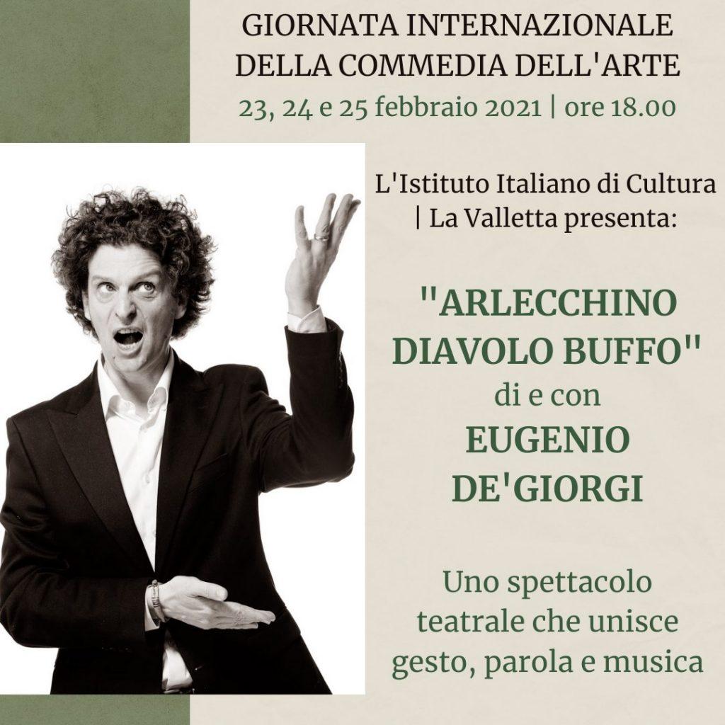 locandina con Eugenio de'Giorgi - Arlecchino diavolo buffo