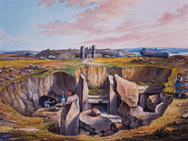 Xaghra stone circle acquarello Brocktorff