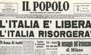 Alfredo Malgeri - giornale che annuncia la Liberazione