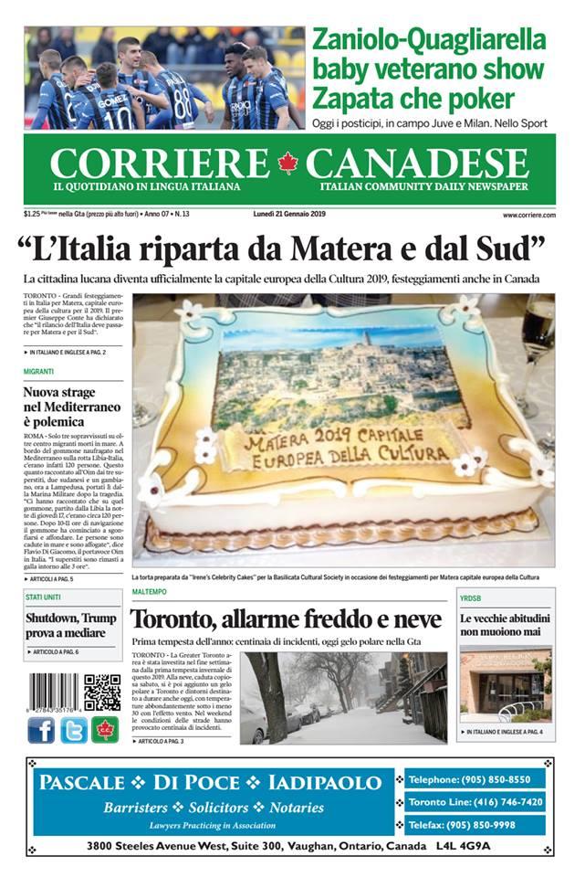 Gemellaggio Matera Corriere Canada