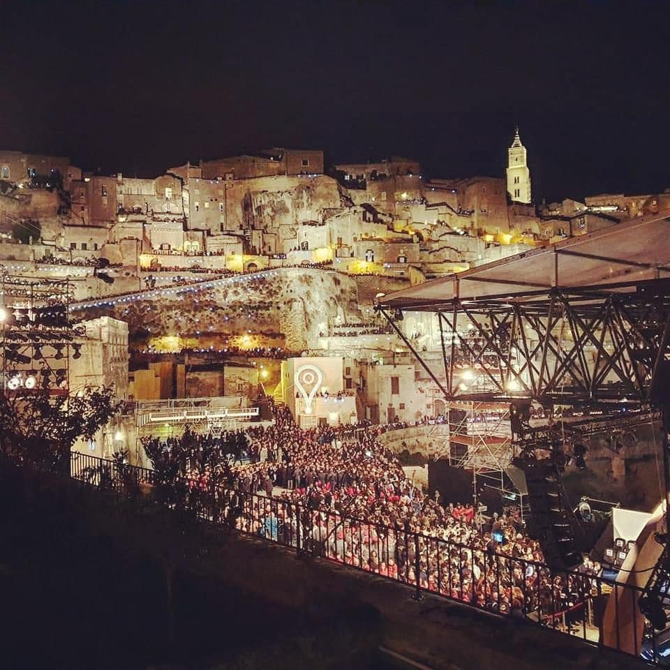 Matera Di Notte Panorama Del Centro