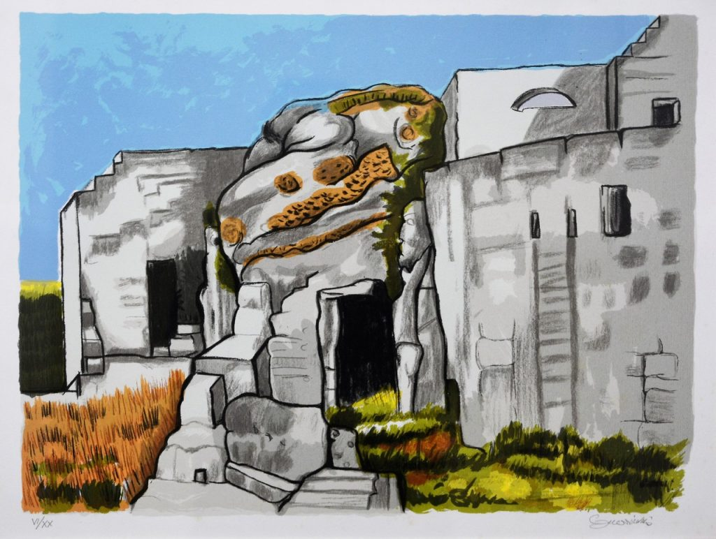 Quadro del Guerricchio raffigurante le case fatte di sassi