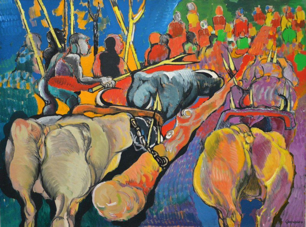 quadro del Guerricchio raffigurante contadini e buoi
