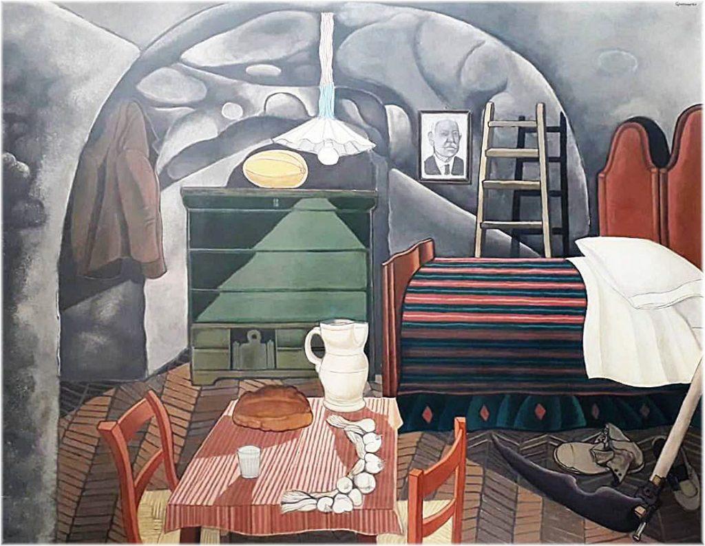 quadro del Guerricchio raffigurante una stanza con tavolo e letto