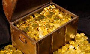 Il Tesoro Di Re Barbarossa - immagine di forziere pieno di monete d'oro