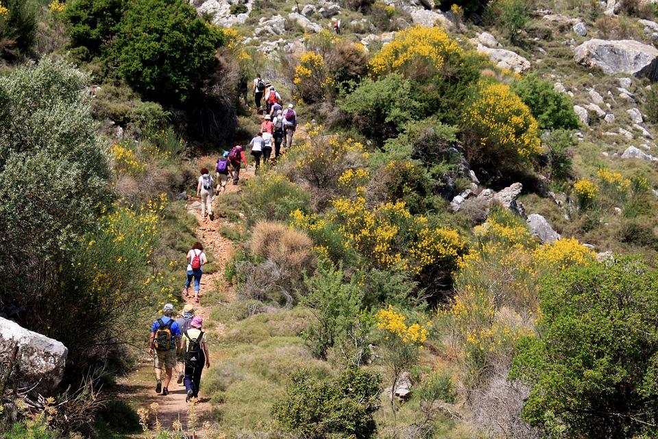 gruppo di persone una dietro l'altra che camminano in montagna