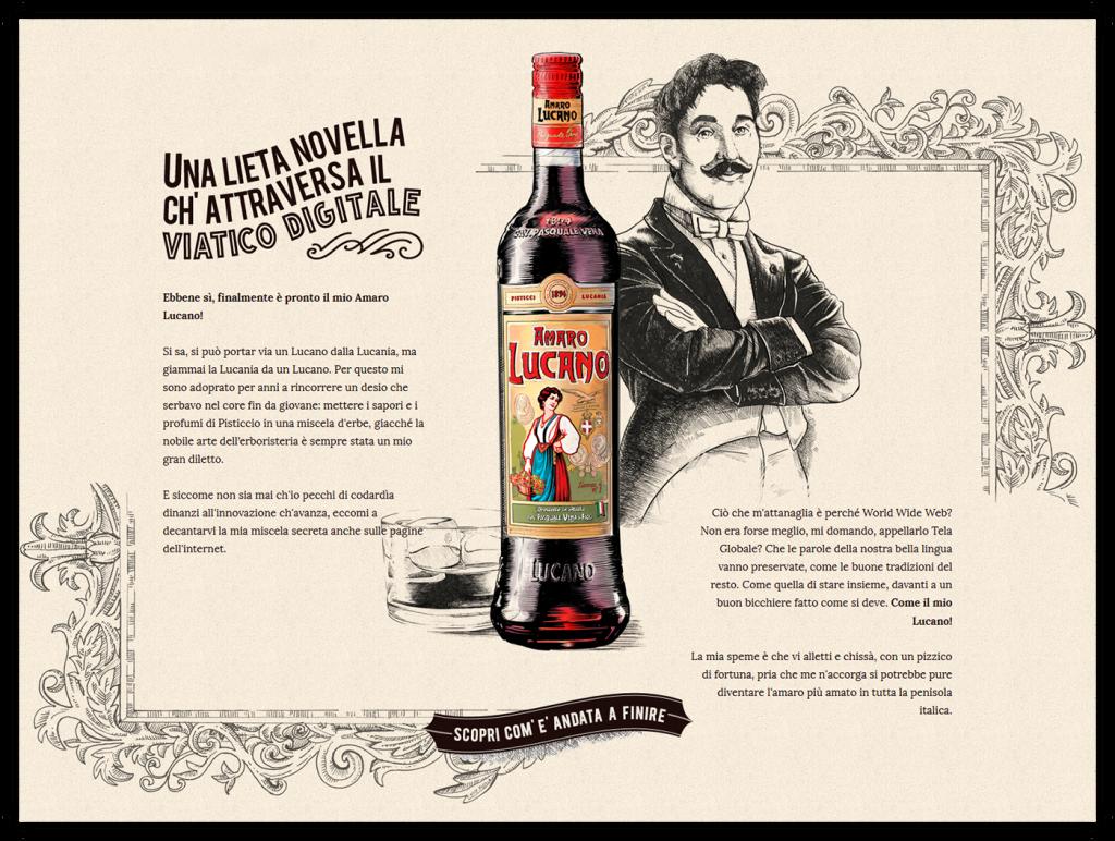 Amaro Lucano e vecchio manifesto dell'autore del liquore