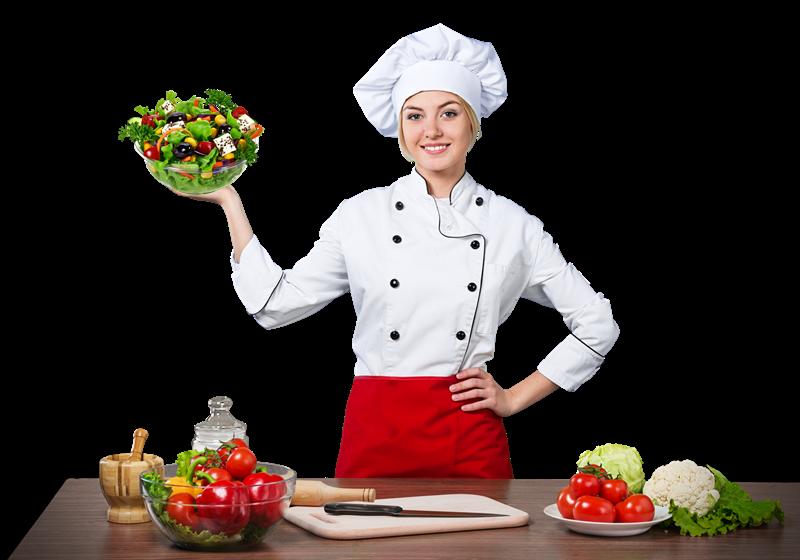 Silvana Felicetta Colucci - una cuoca che mostra un'Insalata pronta