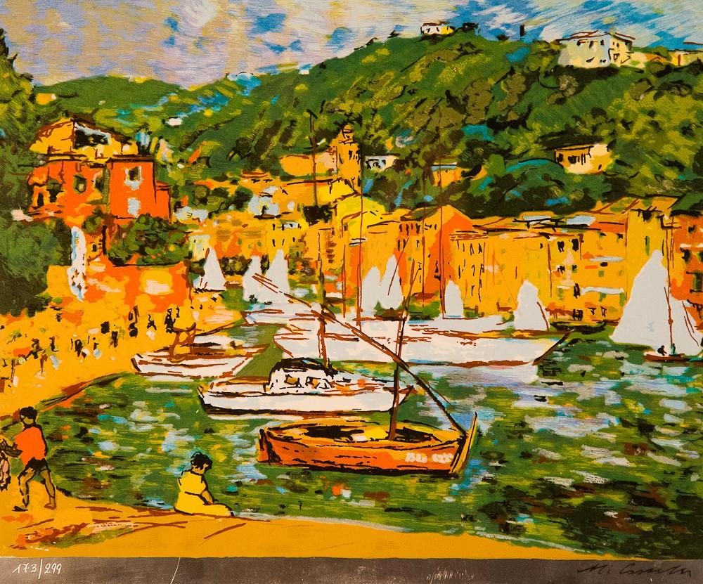 Michele Cascella - dipinto Barche Di Portofino