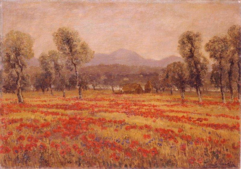 Michele Cascella - dipinto Campo Di Papaveri