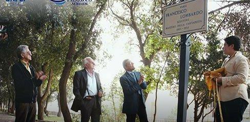 Il viale della villa comunale intitolato a Lombardo a Palazzolo
