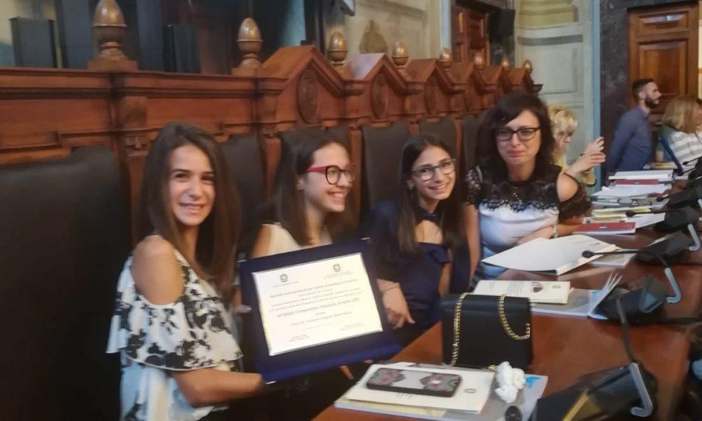 Le studentesse alla premiazione a Roma