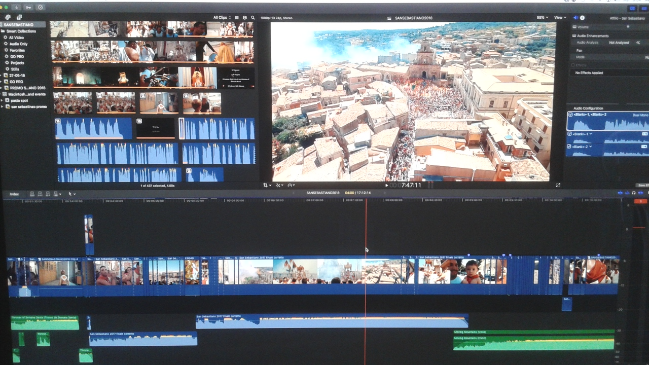 Altre immagini del montaggio del documentario su San Sebastiano