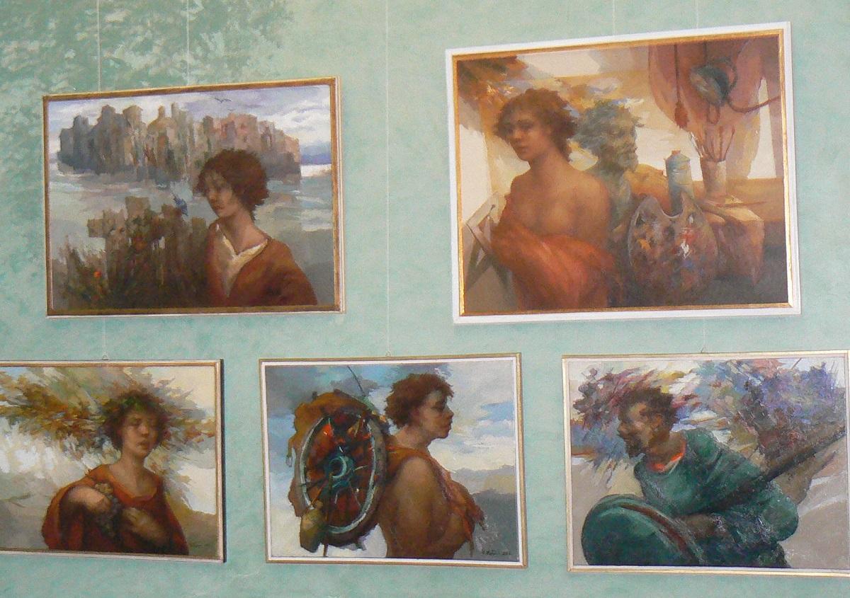 Alcune opere in mostra al Municipio di Palazzolo